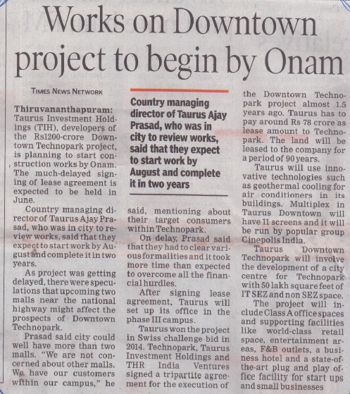 Works on downtown to begin by onam