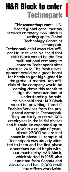 H&R Block to enter Technopark