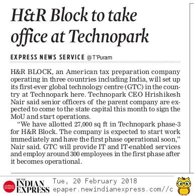 H&R Block to take office at Technopark