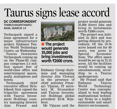 Taurus signs lease accord