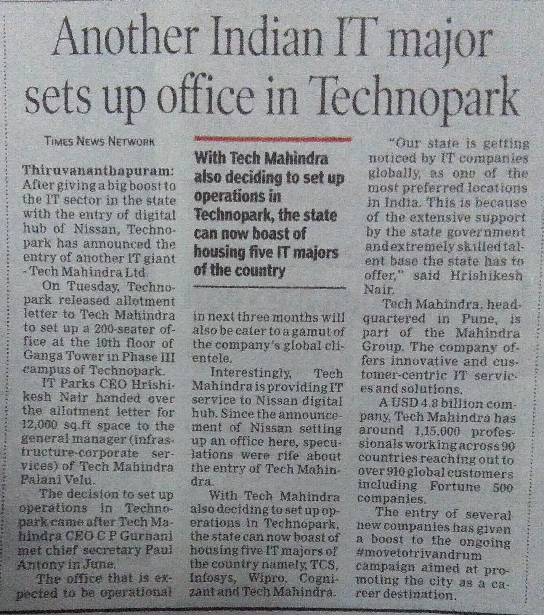 Another Indian IT major sets up office in Technopark